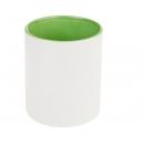 Taza Génova  de cerámica bicolor 11 oz negra, verde o rosa
