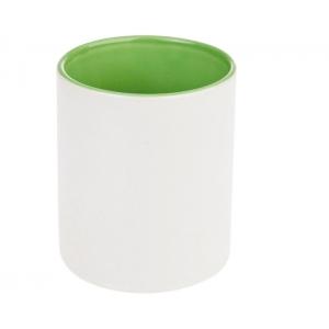 TAZA Tarro Genova ceramica bicolor 11 oz Negra verde o rosa PROMOCIONAL