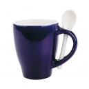 Taza London Bicolor con cuchara Azul cobalto 12 Oz