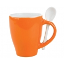 Taza London Bicolor con cuchara Naranja  y Amarilla 12 Oz