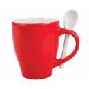Taza London Bicolor con cuchara Roja 12 Oz