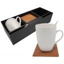 Set de tazas café o te 2 personas con porta taza Bambú