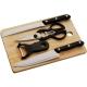 Kit de Cocina tabla para picar 5 piezas madera y acero PROMOCIONAL