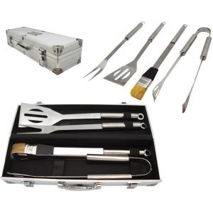 Kit de parrillada BBQ Crome 5 piezas y estuche de aluminio PROMOCIONAL