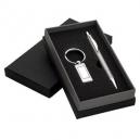 Set de regalo con llavero rectangular metálico y pluma metálica