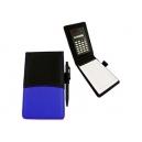 Libreta de curpiel con calculadora y bolígrafo a juego