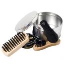 Set para lustrar calzados con 4 accesorios y estuche metálico