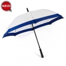 Sombrilla o paraguas blanco con franja de color