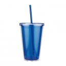 Vaso translucido de doble pared EMBASSY 500 ml con tapa y popote