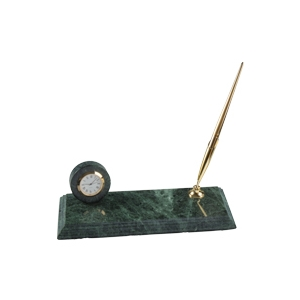 Base de mármol con reloj y portaplumas