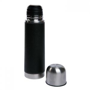 Atractivo Termo forrado en Curpiel color negro modelo WESTERN FLASK