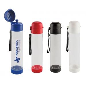 Ánfora o cilindro Kul de plástico transparente con detalles de color en tapa y base.