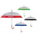 Paraguas de PVC transparente Biella con franja de color