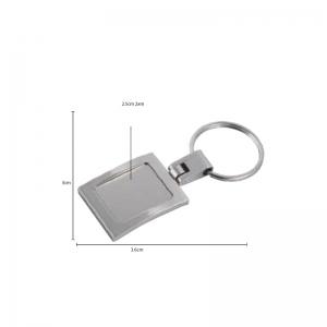 Llavero metálico rectangular con placa de acero