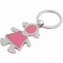 Llavero metálico con placa de aluminio en forma de muñequita rosa