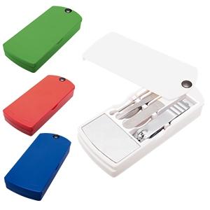 Set o kit de manicure con espejo y 4 piezas de plástico y acero