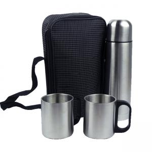 Termo con tazas de acero inoxidable y mochila transportadora