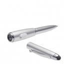 Mini bolígrafo c/luz y punta touch plata