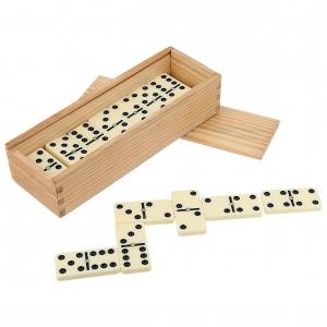 Domino de plástico con estuche de madera