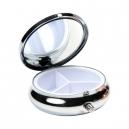 Pastillero con espejo metálico con 3 compartimentos