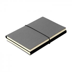 Libreta doble gris y negro con resorte, fabricada en pu con 96 hojas