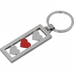 Llavero metálico esmaltado para dama con figuras de corazones