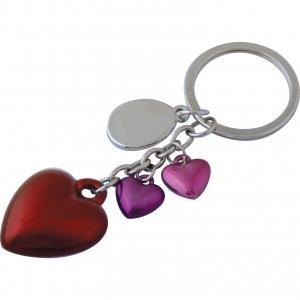 Llavero metálico con figuras de corazones para regalos y ceremonias