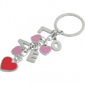 Llavero metálico esmaltado de letras LOVE y corazón para regalo de pareja