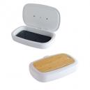 Caja sanitizadora con luz UV y tapa de bambú para celular